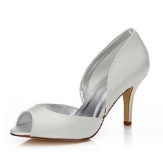 Women's Satin Stiletto Heel Peep Toe Dyeable Shoes