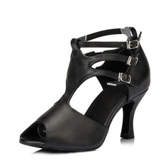 Women's Real Leather Heels Sandals Pumps Latin With T-Strap Dance Shoes