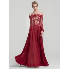 A-Linie/Princess-Linie Off-the-Schulter Bodenlang Chiffon Abendkleid