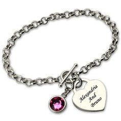 Christmas Gifts For Her - Custom Link & Chain Chain Bracelets Engraved Bracelets With Birthstone (106216616)