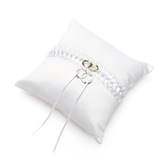 Elegant Ring Pillow in Satin With Ribbons/Sash