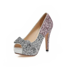Women's Leatherette Cone Heel Pumps Platform Peep Toe With Sparkling Glitter shoes