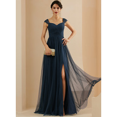 A-Line Sweetheart Sweep Train Tulle Evening Dress With Beading Sequins Split Front (271265451)