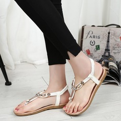 Women's PU Flat Heel Sandals Flats Peep Toe Slingbacks With Rhinestone Elastic Band shoes