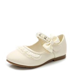 Girl's Leatherette Flat Heel Closed Toe Flats With Bowknot Velcro (207116072)