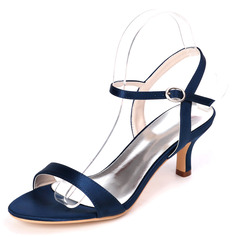 Women's Lace Satin Low Heel Sandals With Buckle