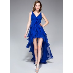 A-Line/Princess V-neck Asymmetrical Chiffon Homecoming Dress With Cascading Ruffles