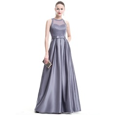 A-Line/Princess Scoop Neck Floor-Length Satin Evening Dress With Beading Sequins Bow(s)