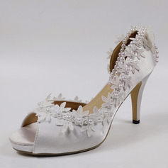 Women's Satin Stiletto Heel Peep Toe Pumps With Imitation Pearl Stitching Lace