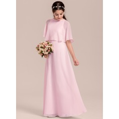 Scoop Neck Floor-Length Chiffon Junior Bridesmaid Dress (268193493)