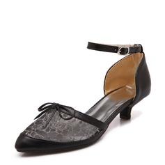 Femmes Similicuir Mesh Talon stiletto Escarpins Bout fermé avec Bowknot chaussures