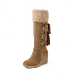 Women's Suede Wedge Heel Wedges Boots Knee High Boots Snow Boots With Lace-up Tassel shoes (088140220)