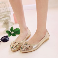 Women's PU Flat Heel Flats Closed Toe With Rhinestone shoes (086142467)