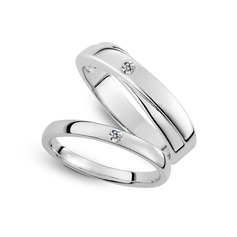 Sterling Silver Cubic Zirconia Round Cut Couple's Rings (289229808)