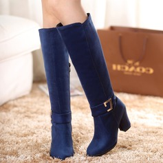 Women's Suede Chunky Heel Pumps Boots Knee High Boots With Buckle Zipper shoes