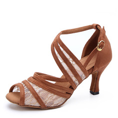 Women's Lace Suede Heels Latin Dance Shoes