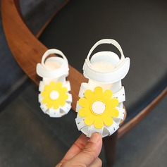 Jentas Round Toe Leather flat Heel Flate sko Flower Girl Shoes med Velcro Blomst