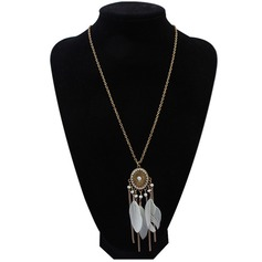 Exotic Alloy Feather With Feather Ladies' Fashion Necklace (Sold in a single piece)