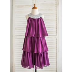 A-Line/Princess Knee-length Flower Girl Dress - Chiffon/Sequined Sleeveless Jewel With Ruffles
