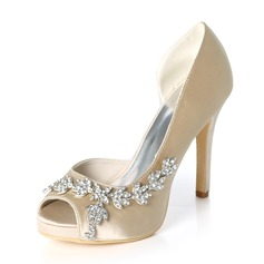 Women's Silk Like Satin Stiletto Heel Peep Toe Platform Pumps With Rhinestone (273216680)