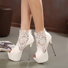 Women's Leatherette Stiletto Heel Boots Peep Toe Ankle Boots With Split Joint shoes