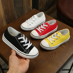 Unisex Round Toe Closed Toe Canvas Flat Heel Flats Sneakers & Athletic With Lace-up