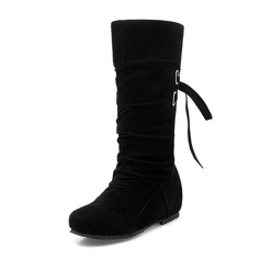 Women's Suede Flat Heel Flats Closed Toe Boots Knee High Boots Mid-Calf Boots With Lace-up shoes