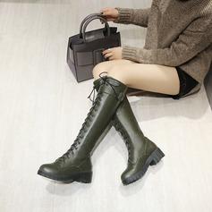 المرأة بو كعب مكتنز مضخات منصة الأحذية أحذية عالية في الركبة مع دانتيل أحذية