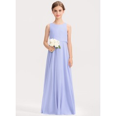 Scoop Neck Floor-Length Chiffon Junior Bridesmaid Dress (268218362)