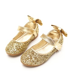 Girl's Round Toe Closed Toe Sparkling Glitter Flat Heel Flower Girl Shoes With Bowknot Sparkling Glitter Velcro (207112605)