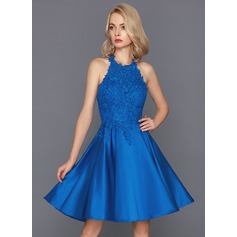 A-Line/Princess Halter Knee-Length Satin Cocktail Dress (016117261)