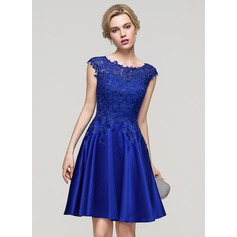 A-Line/Princess Scoop Neck Knee-Length Satin Homecoming Dress (022089904)