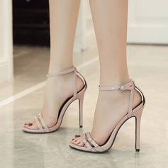 Women's PU Stiletto Heel Sandals Pumps Peep Toe With Buckle shoes (087125946)