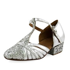 Kids' Leatherette Sparkling Glitter Heels Ballroom With T-Strap Dance Shoes