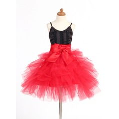 A-Line/Princess Short/Mini Flower Girl Dress - Satin/Tulle Sleeveless Straps With Lace/Bow(s)