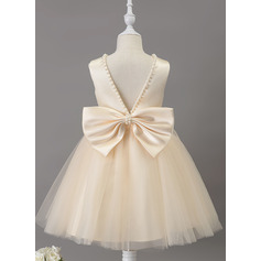 A-Line Knee-length Flower Girl Dress - Satin/Tulle Sleeveless Scoop Neck With Beading (010211903)