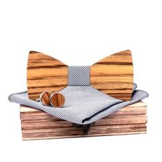 Classic Vintage Wood Bow Tie Cufflinks Pocket Square