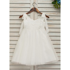 Ball Gown Knee-length Flower Girl Dress - Tulle/Lace Sleeveless V-neck