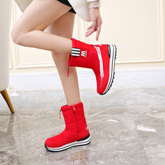 Women's Fabric Low Heel Snow Boots With Zipper shoes