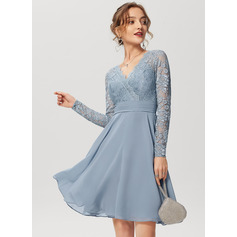 A-Line V-neck Knee-Length Chiffon Lace Cocktail Dress (270251026)