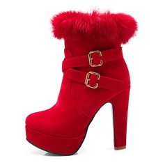 Women's Leatherette Chunky Heel Pumps Platform Closed Toe Boots Mid-Calf Boots shoes