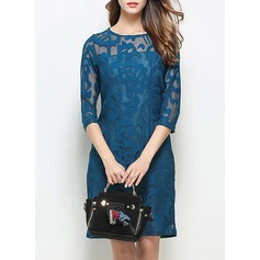 Cotton Blends With Lace/Hollow/See-through Look Knee Length Dress (199133015)