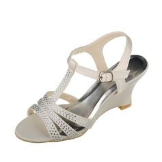Women's Satin Wedge Heel Sandals Slingbacks With Rhinestone