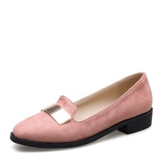 Women's Suede Flat Heel Flats Closed Toe With Sequin shoes (086141400)