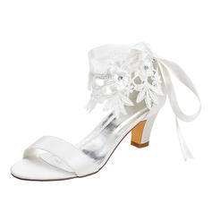 Women's Satin Sandals With Rhinestone Lace-up Applique
