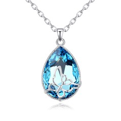 Ladies' Shining S925 Sliver With Pear Cubic Zirconia Necklaces For Bride/For Bridesmaid/For Friends
