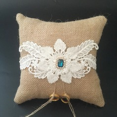 Beautiful Ring Pillow in Lace/Linen With Rhinestones/Flowers