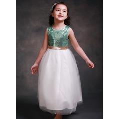 A-Line/Princess Ankle-length Flower Girl Dress - Satin/Tulle Sleeveless Scoop Neck With Sequins