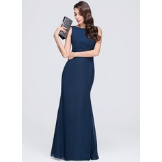 Sheath/Column Scoop Neck Floor-Length Chiffon Evening Dress With Ruffle