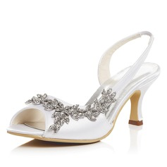 Women's Satin Spool Heel Peep Toe Sandals With Rhinestone (047052681)